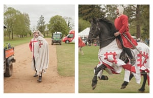 A re-enactor poses near the fringes of the festival, and a knight on horseback enters the main arena