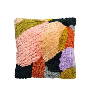 Orange, black, pink, green cushion