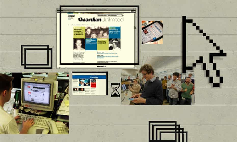The Guardian website iterations during the tenure of Alan Rusbridger, pictured (right) at the launch of a major redesign in 2015