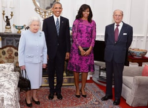 The Queen, Barack and Michelle Obama, and Prince Philip pose for a photograph in the Oak Room at Windsor Castle