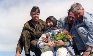 British astronaut Helen Sharman after a successful space flight in Soyuz.