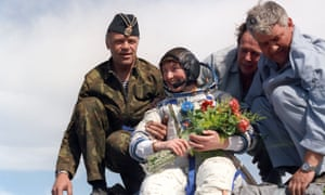 Helen Sharman returns to Earth on 26 May 1991 after her eight-day mission to the Mir space station