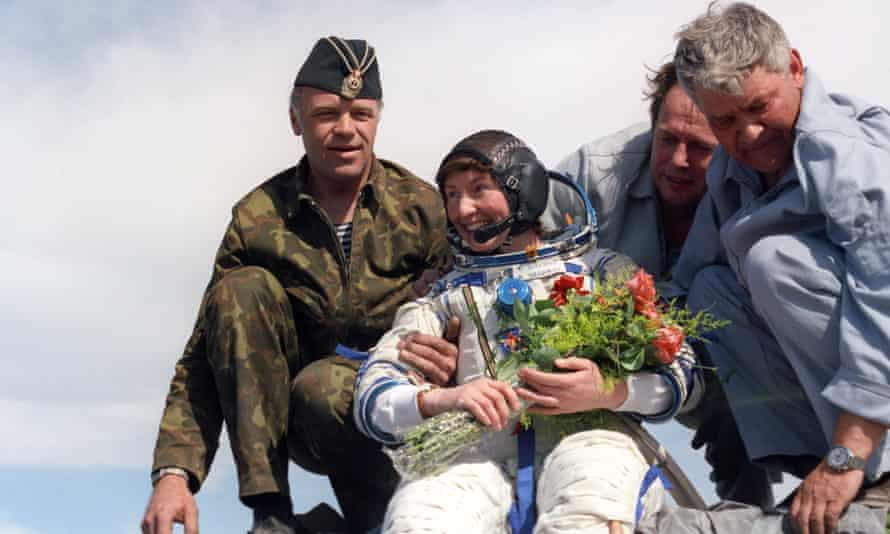 Helen Sharman on her return from the Mir space station in 1991.