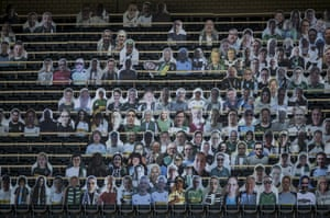 Cardboard cutouts of Borussia Mönchengladbach supporters have been installed on the stands at Borussia Park