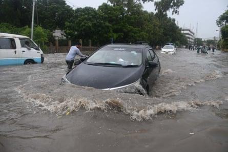 A car flooded in Karachi.
