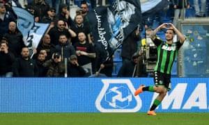 Matteo Politano celebrates his goal against Napoli.