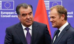 Tajik president Emomali Rahmon with European Union council president Donald Tusk.