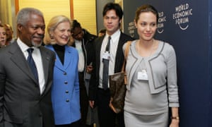 Serious about the world … Jolie and Pitt at the World Economic Forum, 2006.