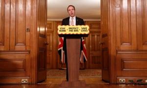 Health secretary Matt Hancock speaks at a coronavirus press conference inside 10 Downing Street.