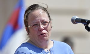 Rowan County Kentucky clerk Kim Davis shows emotion as she is cheered by a gathering of supporters during a rally on the steps of the Kentucky state capitol on Saturday.