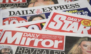 Daily Mirror, Daily Express and Daily Star newspaper tops