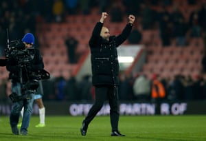 Pep Guardiola celebrates at the end of the match.