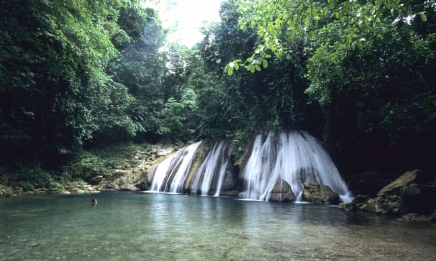 View of Reach Falls waterfall, Near Muirton, Jamaica