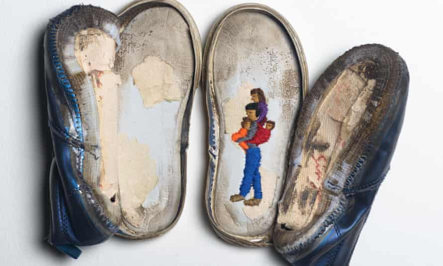 Heart and soul: shoes from the Soleless series (2018) by Aya Haidar in which the shoes of refugees were embroidered.