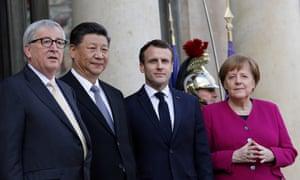 From left: Jean-Claude Juncker, Xi Jinping, Emmanuel Macron and Angela Merkel