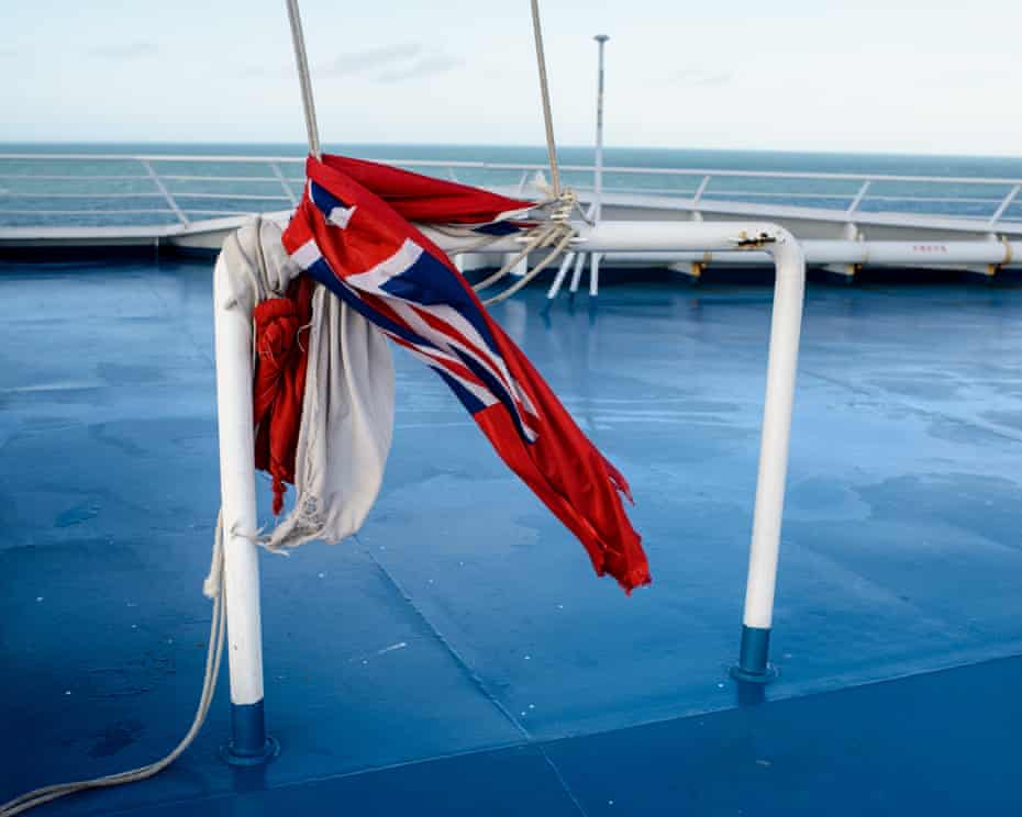 A union jack on the ferry Mont St Michel, travelling between Ouistreham and Portsmouth.
