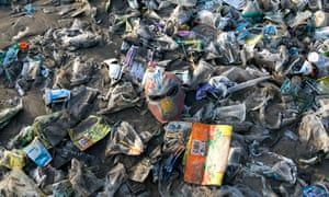 Plastic Waste in Kuta beach in Bali: At least 270,000 people die every year die from respiratory diseases related to burnt waste, while 8m tonnes of plastic enters the ocean each year, because waste is not properly processed on land.