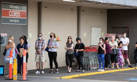 Adelaide residents queue for supermarket shopping after South Australia was thrown into a snap six-day lockdown.