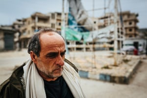 Ibrahim Mezin, a resident of Ariha who came back to the deserted town to check on his house.
