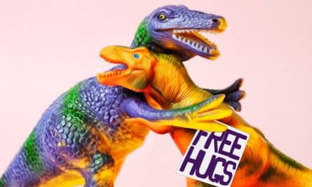 Dinosaurs hugging