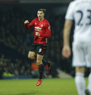 Zlatan Ibrahimovic celebrates after scoring his and Manchester United's second goal