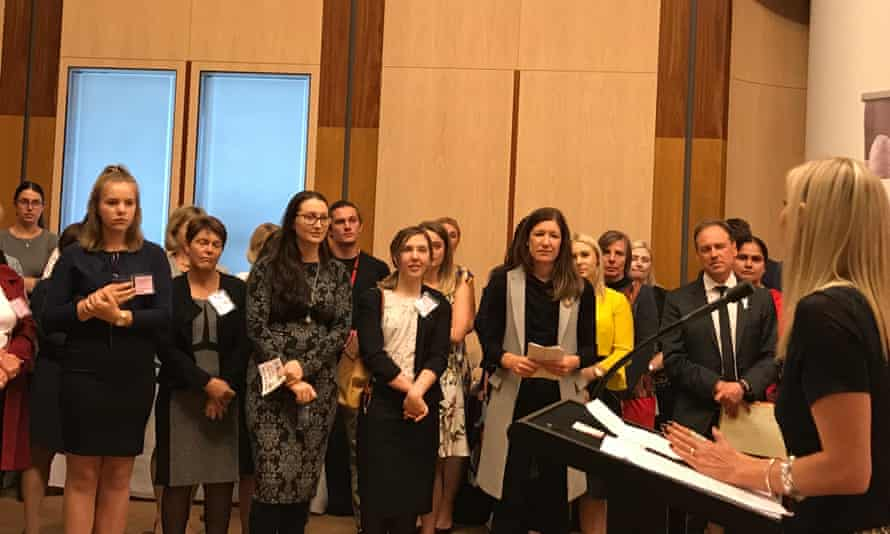 Sylvia Freedman speaks in Parliament House to Greg Hunt, Catherine King, and women and men affected by endometriosis at an event organised by the Parliamentary Friends of Endometriosis Awareness.