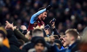 Trézéguet is given the hero's treatment by Aston Villa fans.