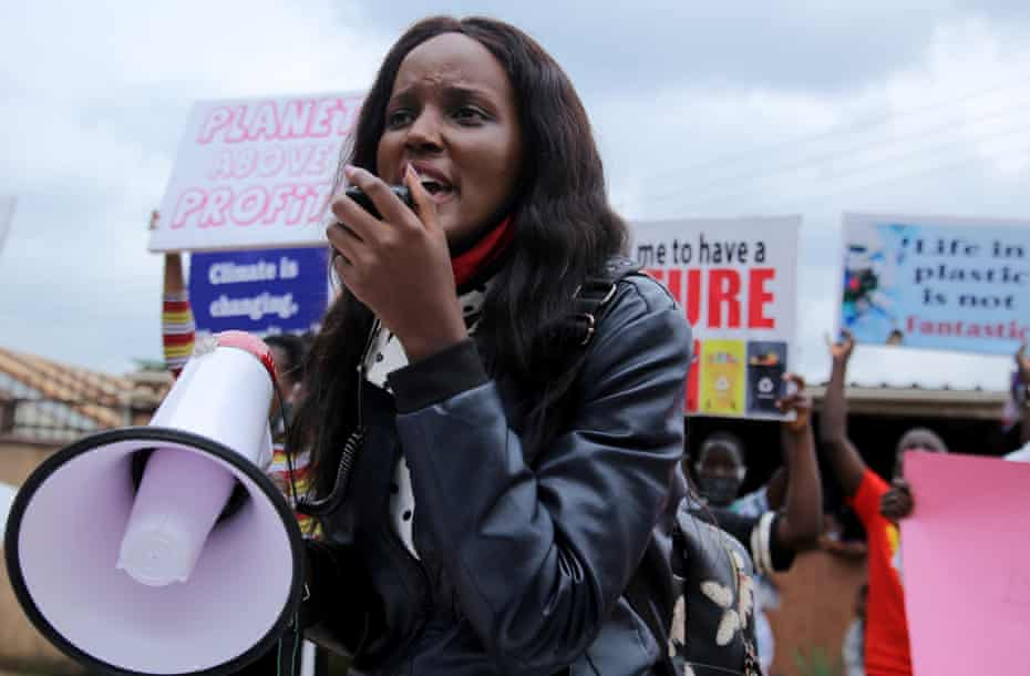 Ugandan climate change activist Vanessa Nakate at a demonstration for the Global Climate Change in Luzira suburb of Kampala, Uganda September 25, 2020