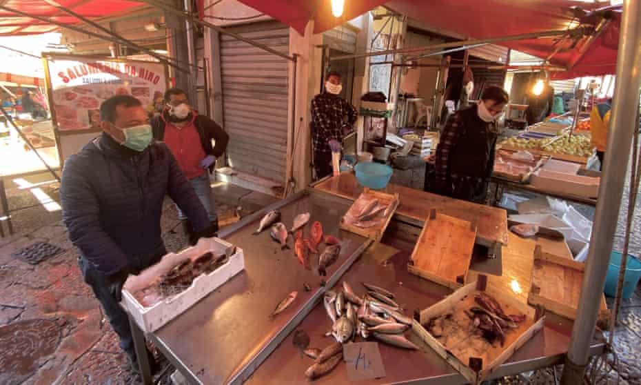Terza Putia at his fish stall.