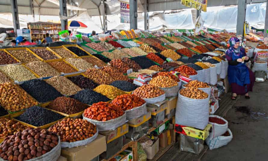 Dried fruits in Osh Bazaar, Bishkek, Kyrgyzstan.Bishkek, Kytgyzstan