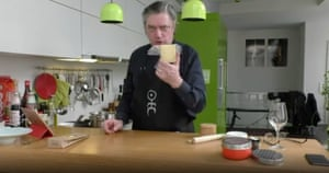 'He was the most beautiful man in the world' ... Bargeld cooking on Instagram, in an EN-logo apron, during lockdown.