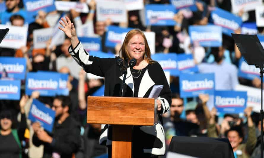 Jane Sanders speaks at a rally at Queensbridge Park, New York, for the campaign of her husband, Bernie Sanders.