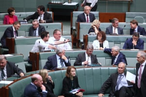 The prime minister Scott Morrison arrives for a division in the house of representatives