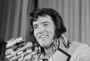 """Elvis Presley, then 37, said his infamous gyrating performances, which shocked thousands of parents and got him censored below the waist on television, were 'tame compared to what they're doing now. All I did was jiggle."""""""