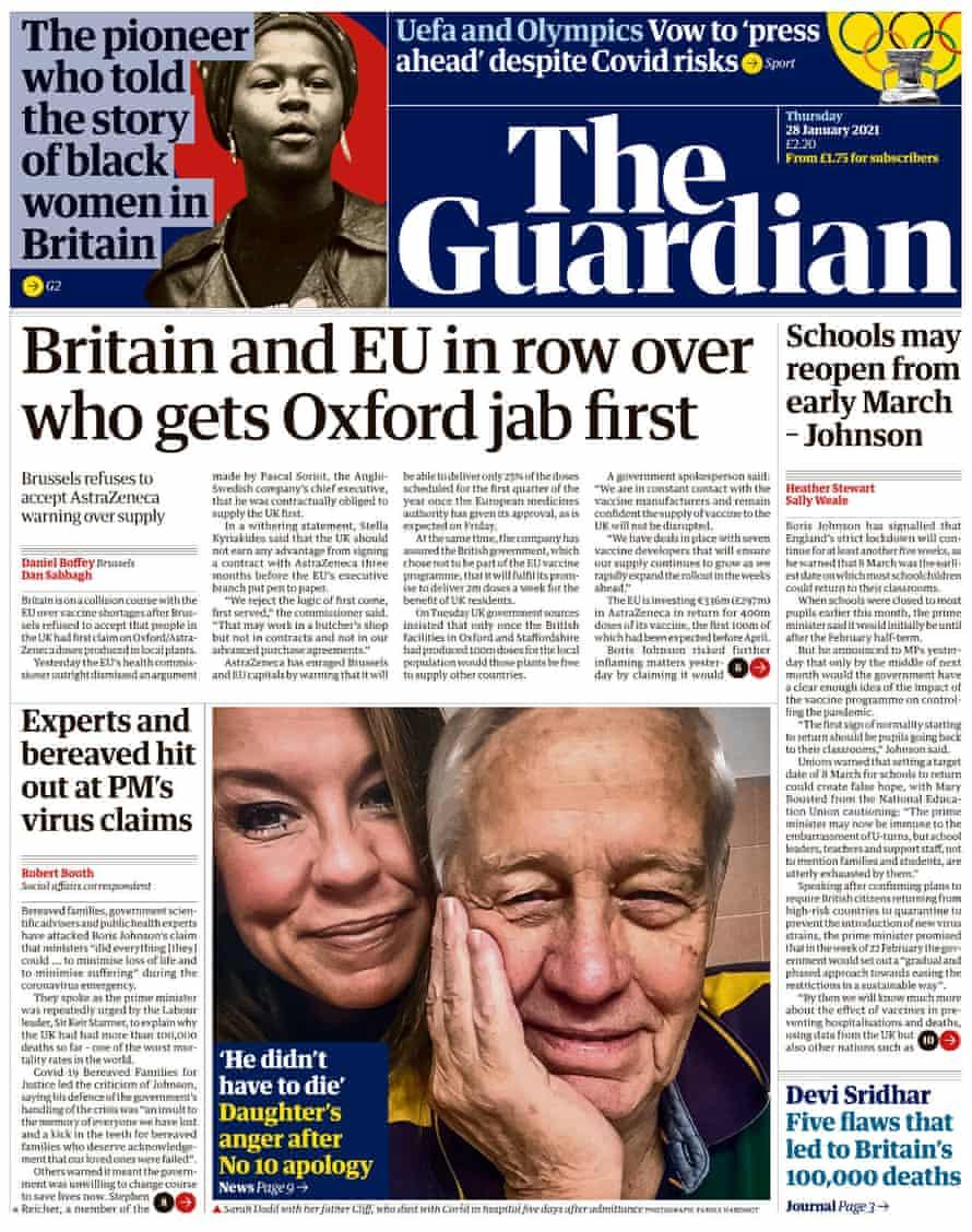 Première page du Guardian, jeudi 28 janvier 2021