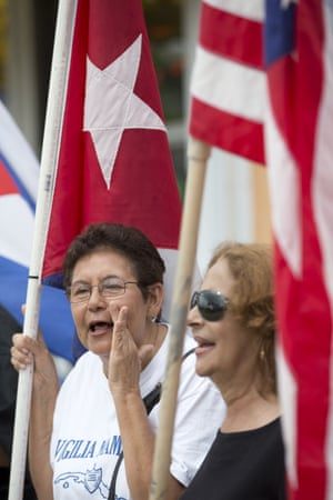 Protesters against the opening of the US embassy in Havana chant during the demonstration.