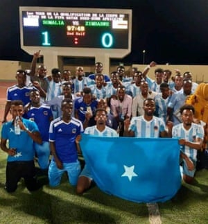 Somalia celebrate their victory over Zimbabwe in Dijibouti.