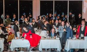 Simona Mihai as Musetta, centre, with Florian Sempeyas Schaunard, Michael Fabiano as Rodolfo, Nicole Car (Mimi) and Luca Tittoto (Colline) in La bohème at the Royal Opera House, directed by Richard Jones.