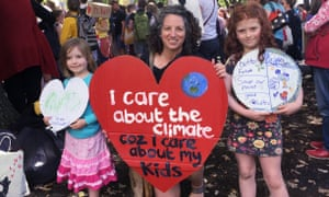 Eve White and her children join climate protests in Tasmania