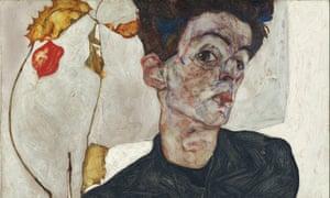 Egon Schiele's Self-Portrait with Physalis, 1912 (detail