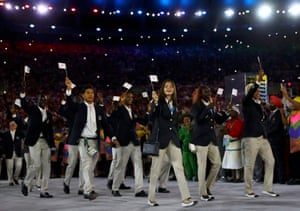 The specially created refugee team who will compete at the Games for the first time received a huge ovation, as did the hosts.