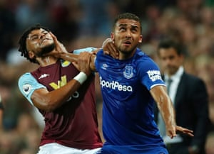 Everton's Dominic Calvert-Lewin gets to grip with Aston Villa's Tyrone Mings.