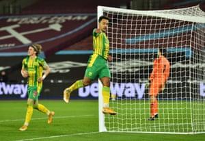 West Bromwich Albion's Matheus Pereira celebrates scoring their equaliser.