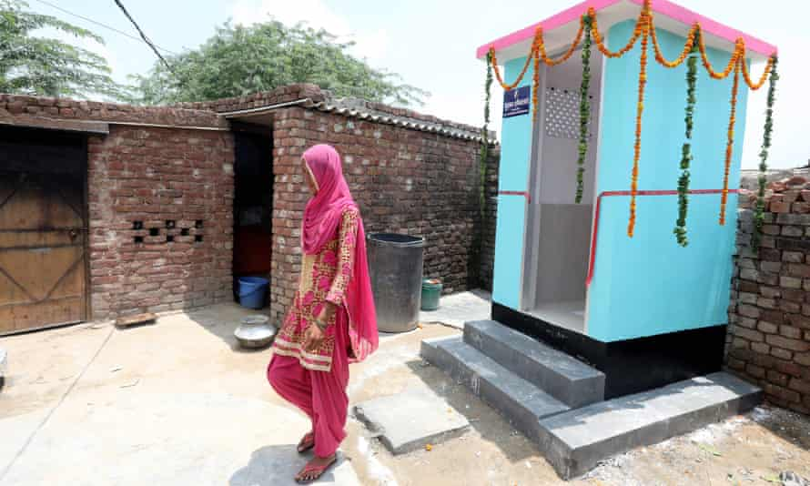 A new toilet installed at Marora village, in Haryana, India