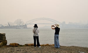 Sydney Harbour Bridge in smoke haze