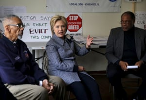 Hillary Clinton meets with union members from Nabisco.