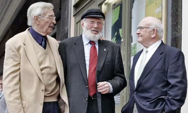 Theodore Bikel, centre, with fellow actors Martin Landau, left, and Ed Asner, during a dedication ceremony for Bikel's star on the Hollywood Walk of Fame in Los Angeles in 2005.
