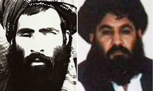 A picture believed to be of the late Afghan Taliban leader Mullah Omar, left. The appointment of his successor Mullah Akhtar Mansoor, right, has been challenged by senior figures in the militant movement.