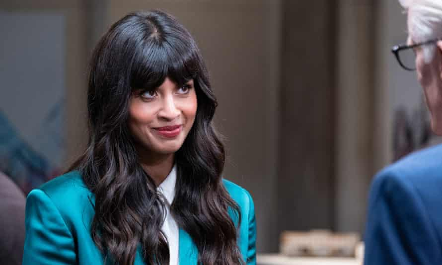 Jameela Jamil with Ted Danson in The Good Place.
