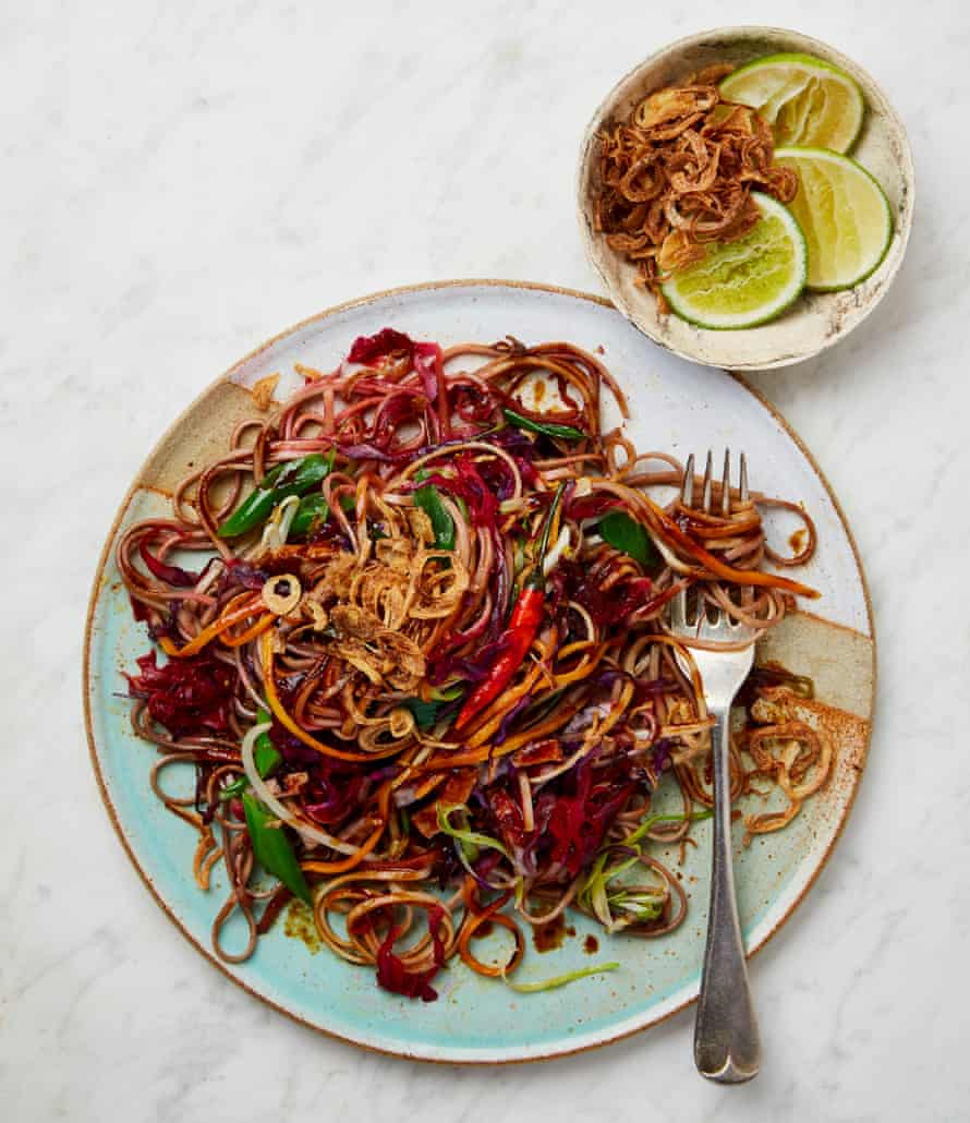Meera Sodha's mee goreng with carrot, red cabbage and tofu.